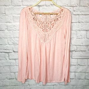 Anthro Meadow Rue pink crochet long sleeve